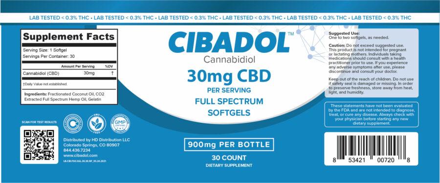 Cibadol 900mg FSO Softgels Label