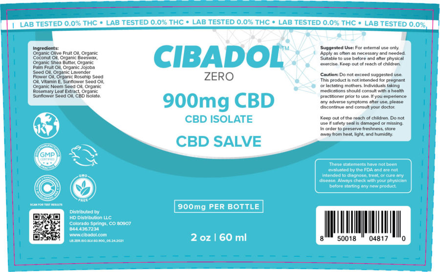 Cibadol Zero Salve 900mg Label