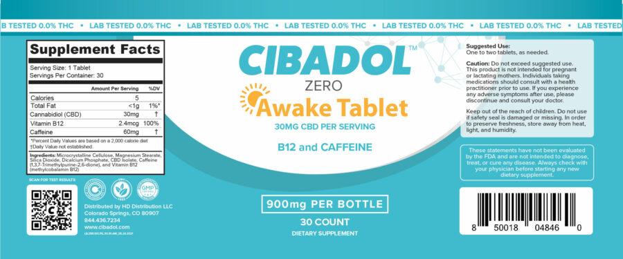 Awake Tablet Label