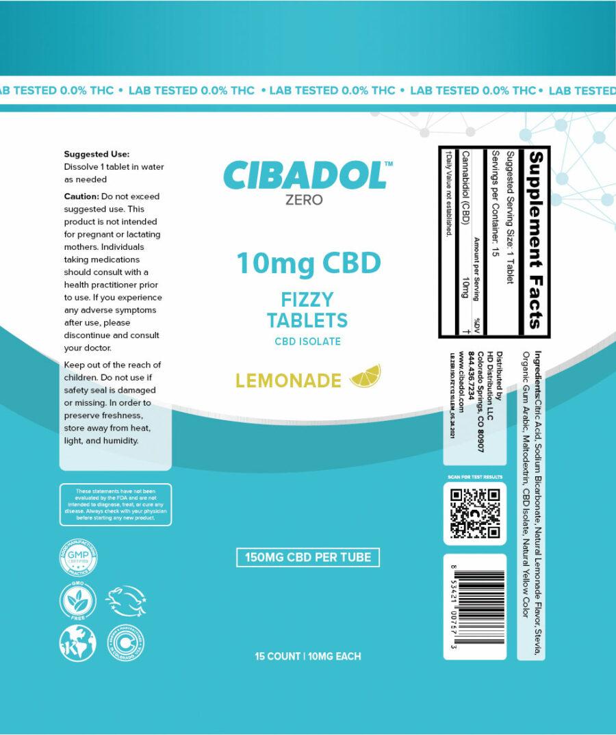 Cibadol Zero Lemonade Fizzt Tablets 150mg Label
