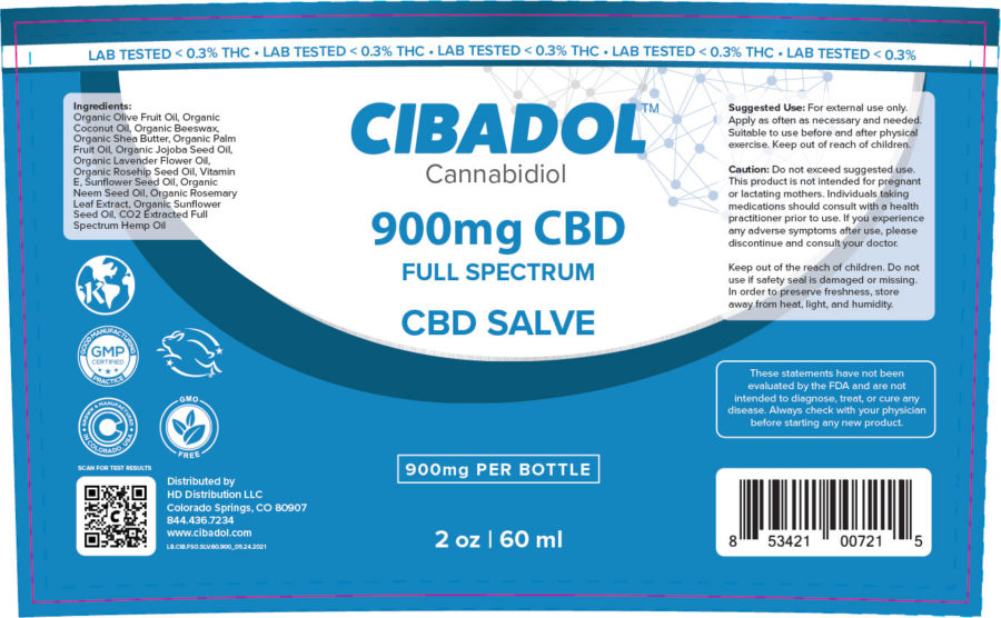 Cibadol 900mg Salve Label